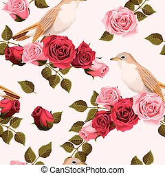 Seamless nightingale and roses - Vintage nightingale and...