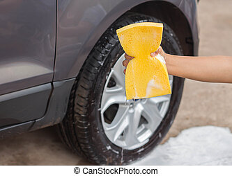Wash a car - Washing a car