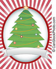 Christmas Tree Oval Banner Ray Blan