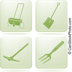 Garden Tools - Gardening hand tools green square icons set....