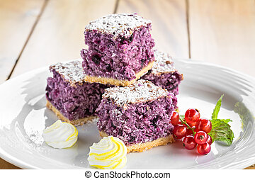 Blueberry Cake on a white plate