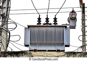 High voltage power transformer on white background