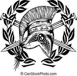 Legionnaires helmet crossed swords - Vector image crossed...