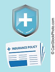 Medical Insurance Icon and Insurance Policy. Vector...