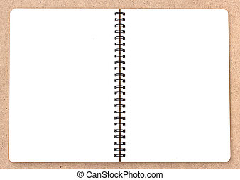 Open Small notepad on wood background