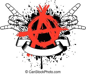 symbol anarchy and gesture rock - Abstract vector...