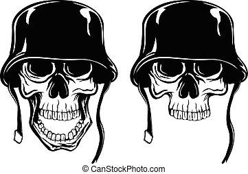 two skull in helmet