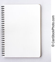 Open Small notepad on white background