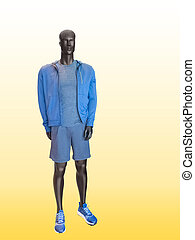 Male mannequin wearing clothes for sport end rest