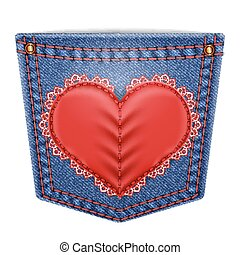 Rear pocket with sewn lace heart - Rear blue denim pocket...