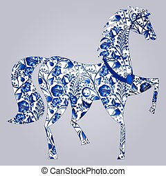 Blue stylized horse Gzhel. Russian blue floral traditional...
