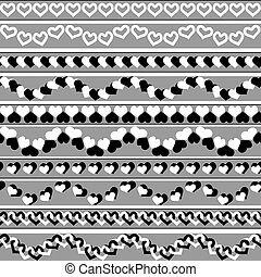 Valentine`s day black-and-white borders - Set of simple...