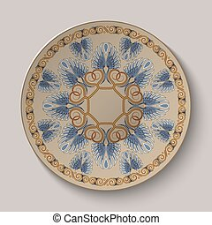 Dish with an ornament in the ancient Greek style Vector...
