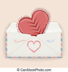 Valentine background. Realistic envelope with attached lace heart.
