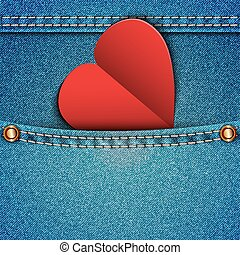 Denim pocket with an attached heart Vector illustration