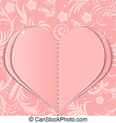 Pink paper heart on Valentine's Day on the patterned...