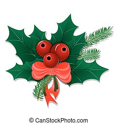 Christmas bouquet with holly leaves and berries with a bow...