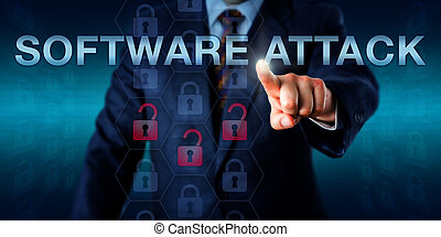White Collar Hacker Touching SOFTWARE ATTACK - White collar...
