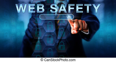 Corporate Internet User Pressing WEB SAFETY - Corporate...