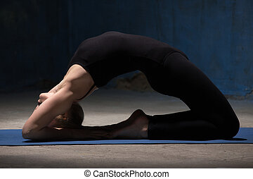Beautiful Yoga Woman Doing Kapotasana Pose - Beautiful...