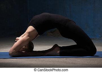 Beautiful Yoga Woman Doing Kapotasana Pose - Beautiful...