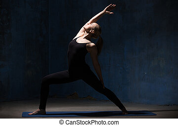 Beautiful Yoga Woman Doing Peaceful Warrior Pose - Beautiful...