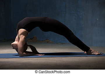 Beautiful Yoga Woman Doing Dvi Pada Viparita Dandasana pose...