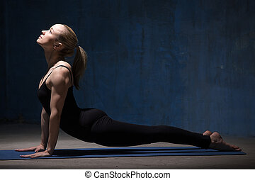 Beautiful Yoga Woman Doing Upward Facing Dog Pose -...