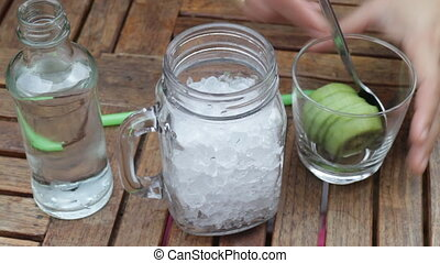 Kiwi sparkling water cold drink, stock video