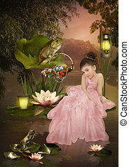 Thumbelina - Little girl in a long pink dress, decorated...