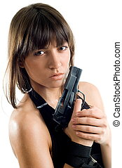 Beautiful girl with gun on white background is insulated