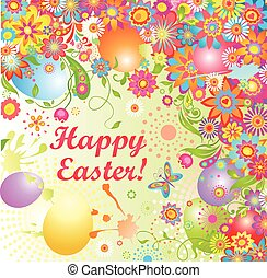 Easter greeting with painted eggs
