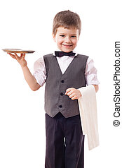 Little waiter with tray and towel