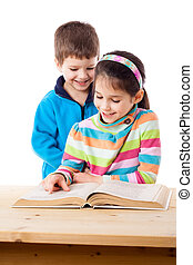 Two adorable kids reading the book