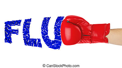 Boxing glove and word Flu isolated on white background