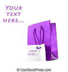 Gift package of violet colour with a card for...