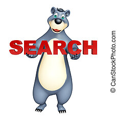 Bear cartoon character with search sign - 3d rendered...