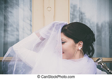 Woman with white cloth