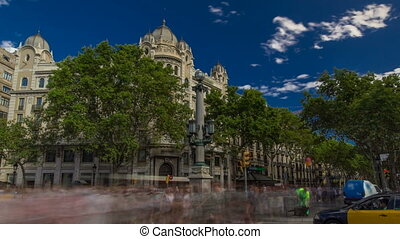 The famous Ramblas street timelapse hyperlapse with...