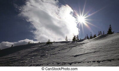 Winter landscape. Cold day, with snow shining in the sun. -...