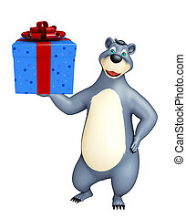 cute Bear cartoon character with gift box - 3d rendered...