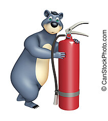 Bear cartoon character with fire extinguisher - 3d rendered...