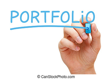 Portfolio Blue Marker - Hand writing Portfolio with blue...