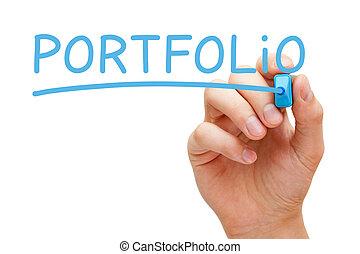 Portfolio Blue Marker - Hand writing Portfolio with blue...
