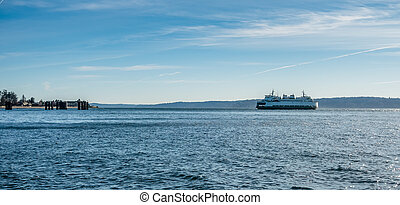 Ferry On The Puget Sound - A ferry on the Puget Sound heads...