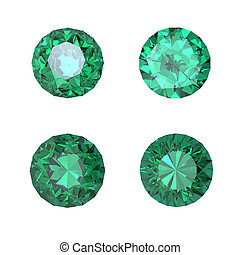 Round emerald isolated on white background. Gemstone