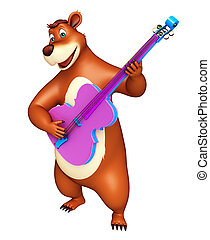 cute Bear cartoon character with guitar - 3d rendered...