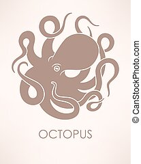 Vector octopus sillhouette - Vector illustration of circle...