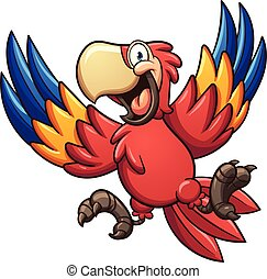 Cartoon macaw - Cartoon red macaw Vector clip art...