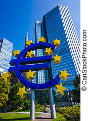 Euro sign at European Central Bank headquarters in Frankfurt...